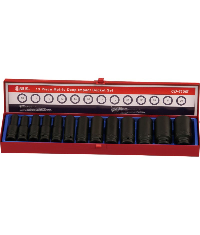 13 Piece 1/2″ Dr. Metric Deep Impact Socket Set Cr-Mo