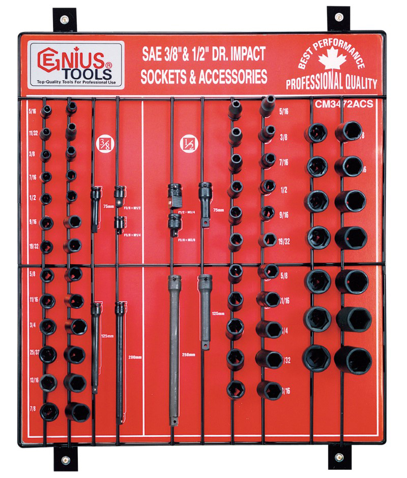 72 Piece 3/8″ & 1/2″ Dr. SAE Impact Socket & Accessory Display Board