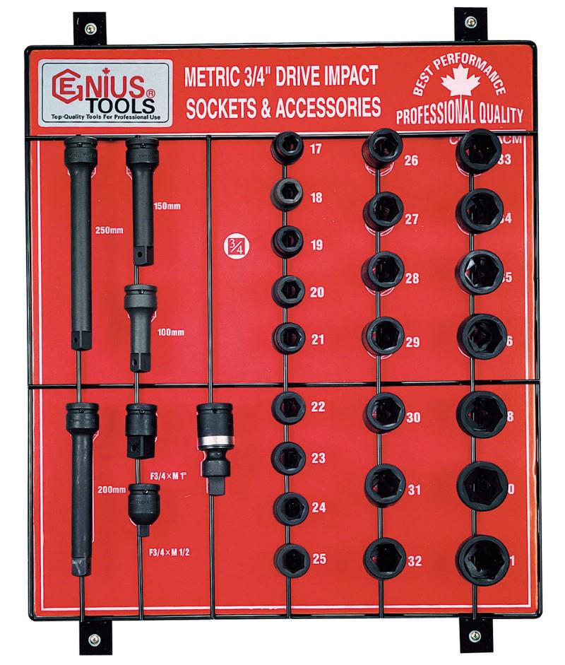 30 Piece 3/4″ Dr. Metric Impact Socket & Accessory Display Board