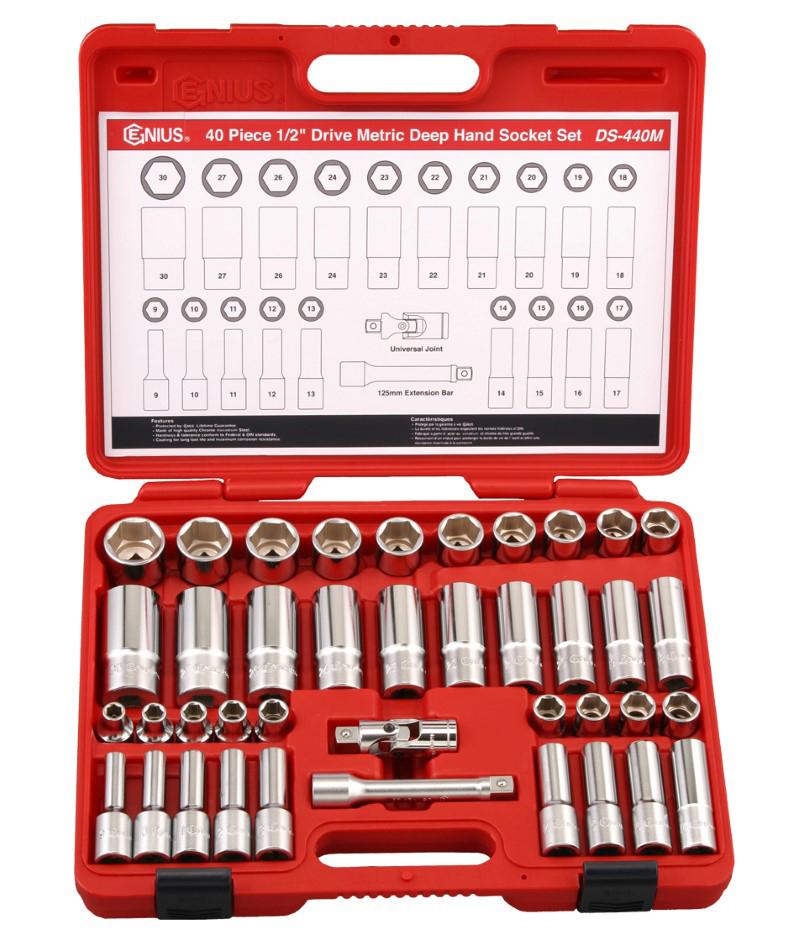 40 Piece 1/2″ Dr. Metric Deep Hand Socket Set