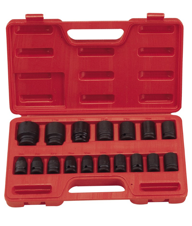 17 Piece 1/2″ Dr. Metric Impact Socket Set Cr-Mo