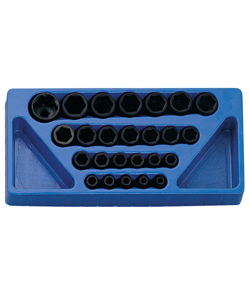 25 Piece 1/2″ Dr. Metric Impact Socket Set Cr-Mo