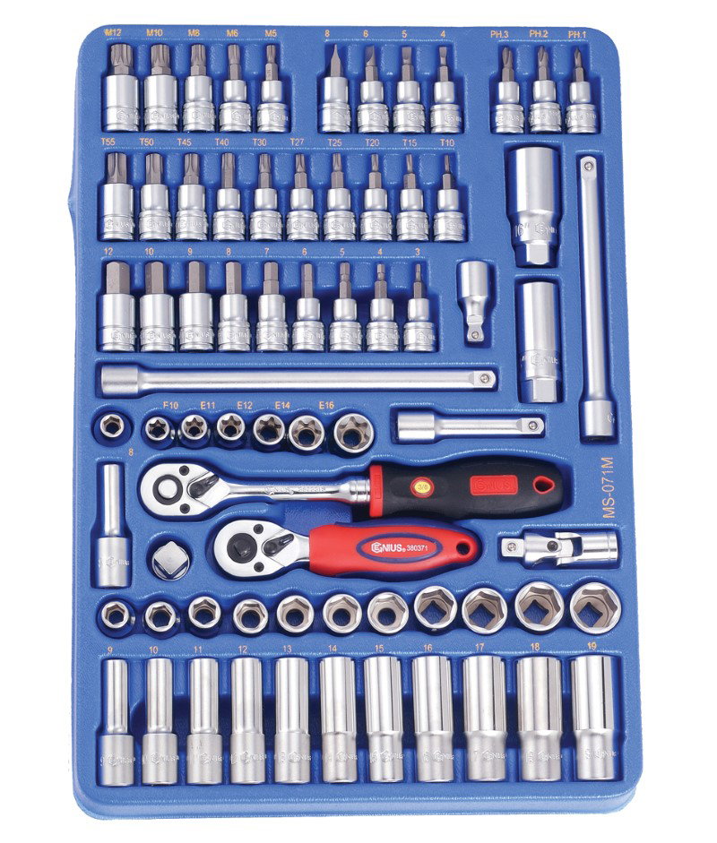 71 Piece 3/8″ Dr. Metric Hand Socket and Bit Socket Set