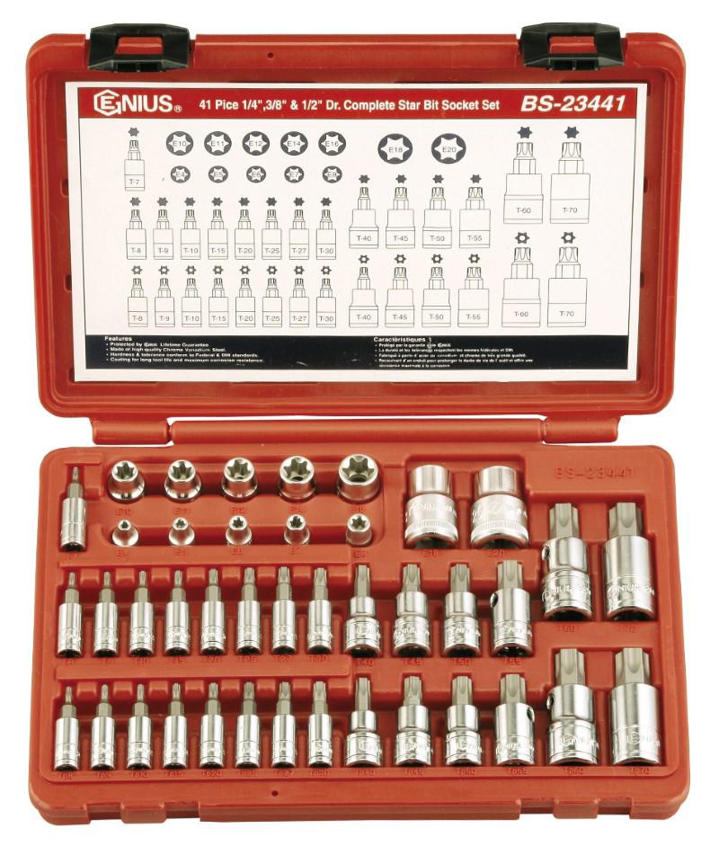 41 Piece 1/4″, 3/8″ & 1/2″ Dr. Complete Star Bit Socket Set
