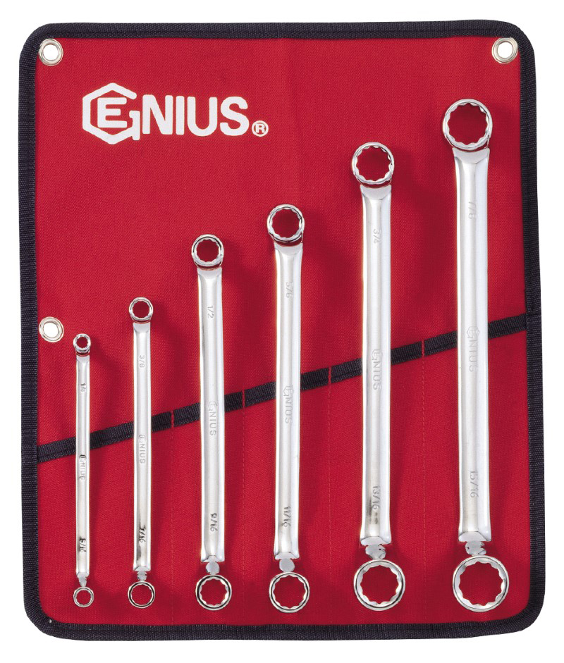 6 Piece SAE Double Ended Offset Ring Wrench Set
