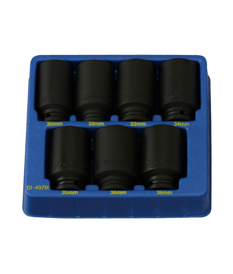 7 Piece 1/2″ Dr. Metric Deep Spindle Nut Impact Socket Set Cr-Mo