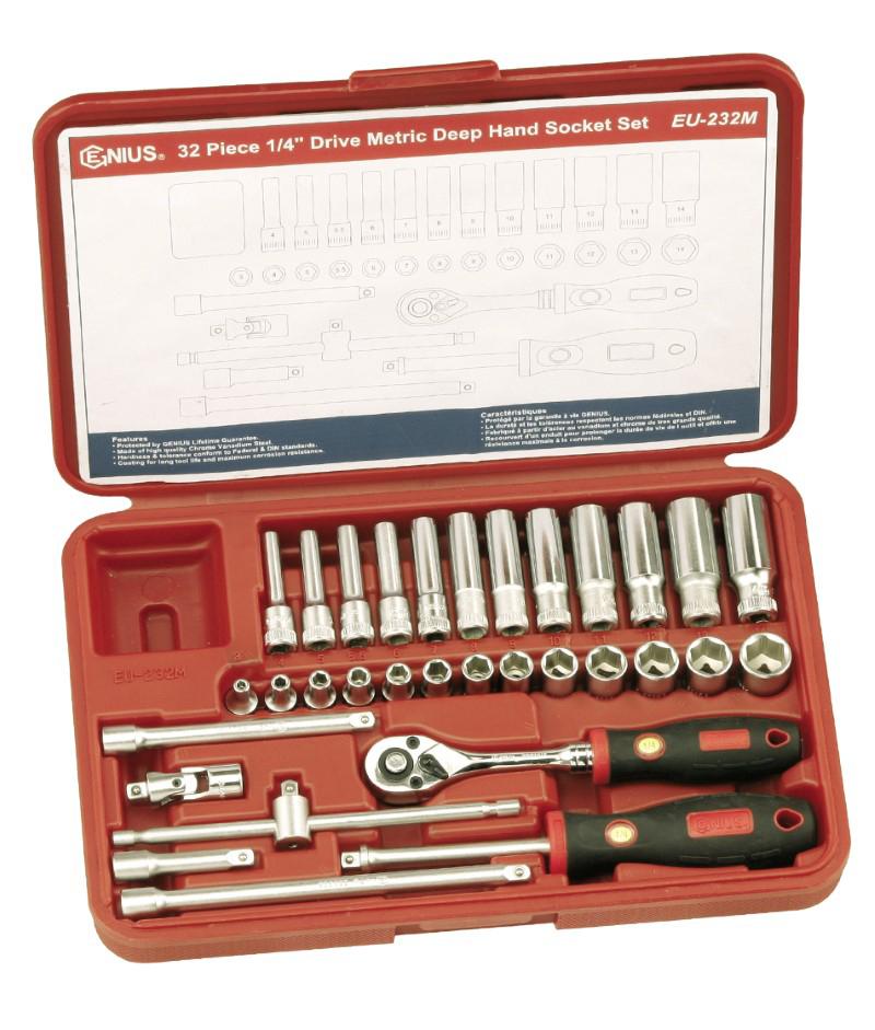 32 Piece 1/4″ Dr. Metric Deep Hand Socket Set