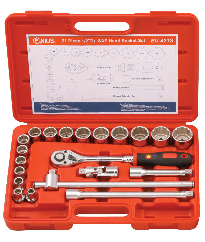 21 Piece 1/2″ Dr. 12 pt. SAE Hand Socket Set