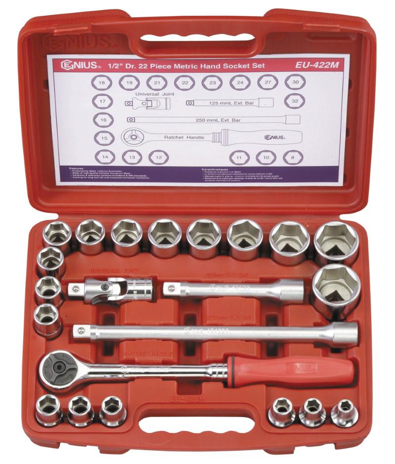 22 Piece 1/2″ Dr. Metric Hand Socket Set
