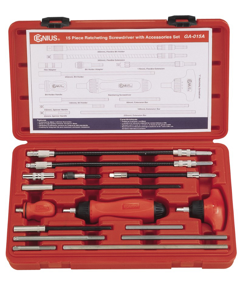 15 Piece Ratcheting Screwdriver with Accessories