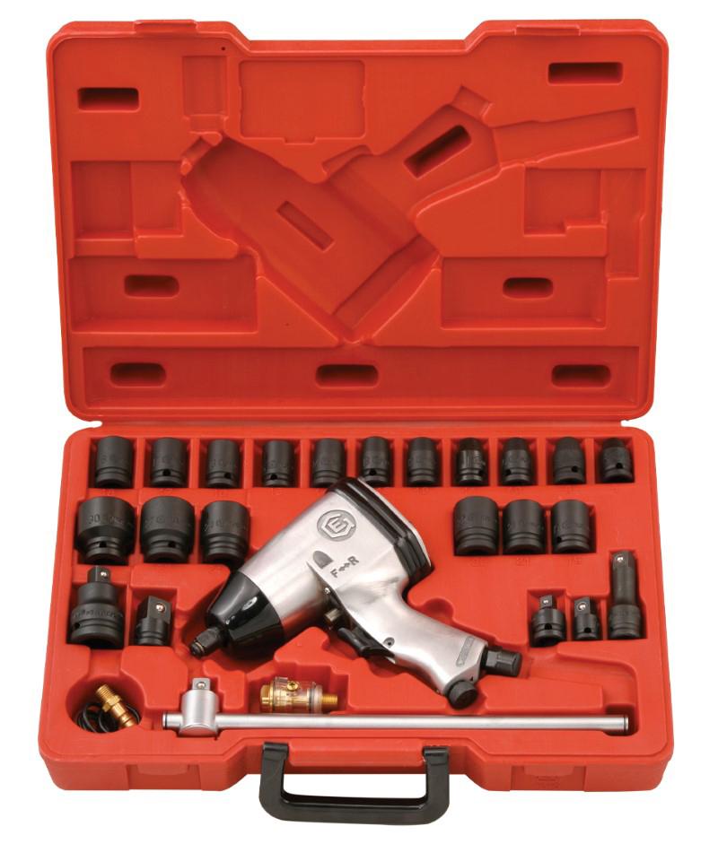 27 Pcs 1/2″ Dr. SAE Impact Wrench Kit