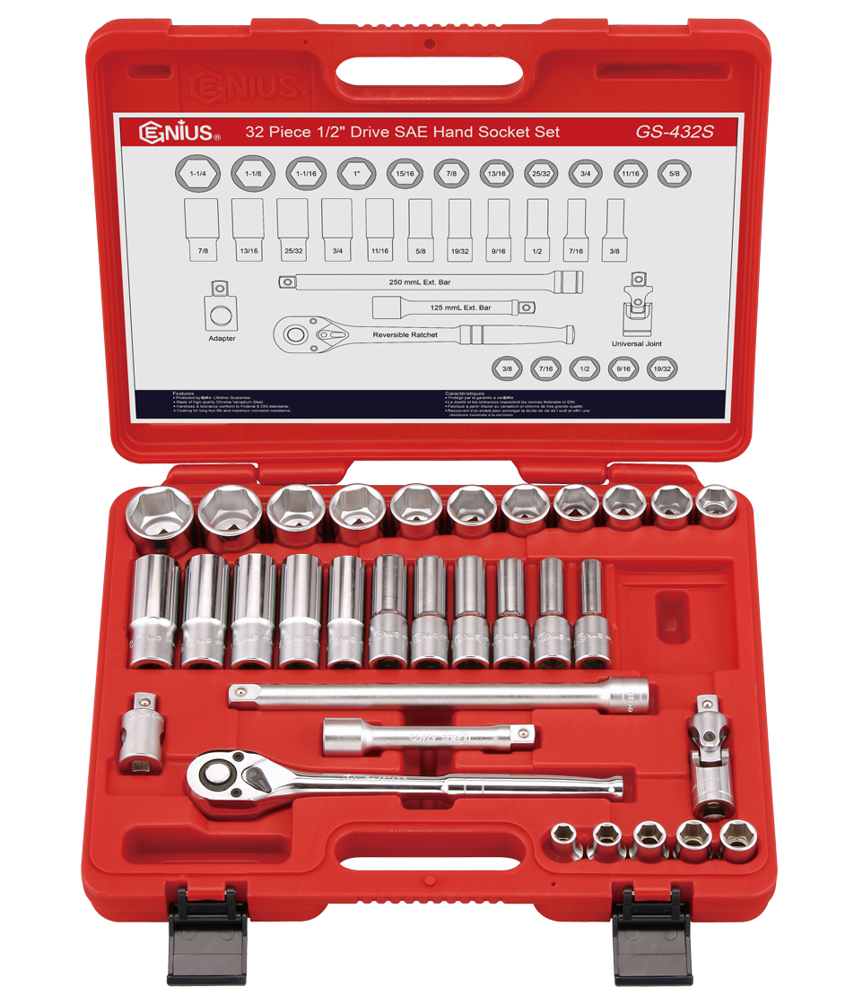 32 Piece 1/2″ Dr. SAE Deep Hand Socket Set