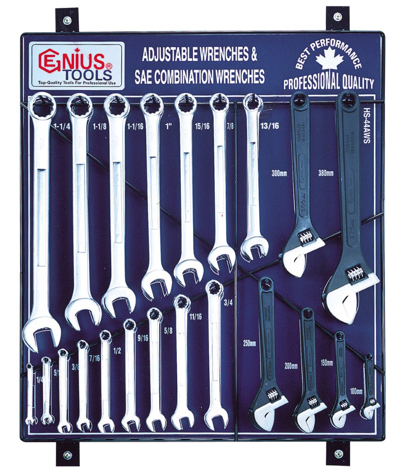 44 Piece SAE Adjustable & Combination Wrench Display Board