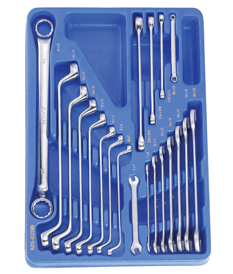 20 Piece Metric Box End, Open End and E-Star Wrench Set