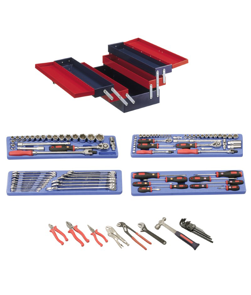 110 Piece 1/4″, 3/8″ & 1/2″ Dr. Metric Starter Tool Set (with Portable Tool Box)