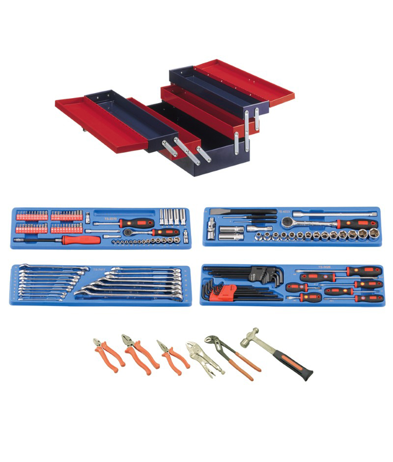 142 Piece 1/4″ & 1/2″ Dr. Metric Starter Tool Set (with Portable Tool Box)