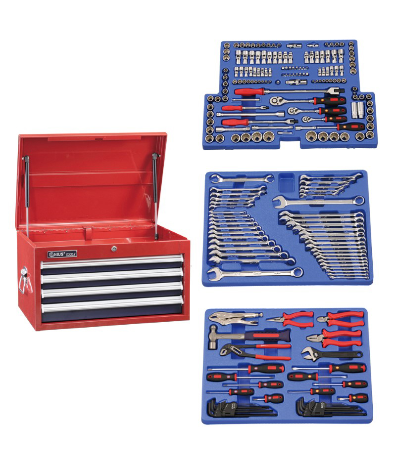 215 Piece 1/4″, 3/8″ & 1/2″ Dr. Metric & SAE Starter Tool Set (with 4 Drawer Top Chest)