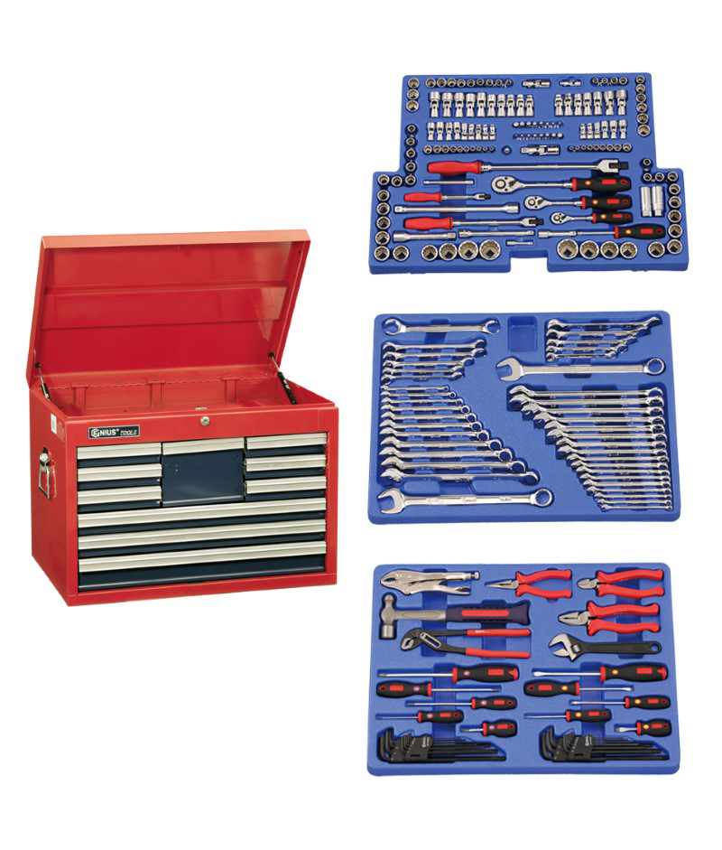 215 Piece 1/4″, 3/8″ & 1/2″ Dr. Metric & SAE Starter Tool Set (with 10 Drawer Top Chest)