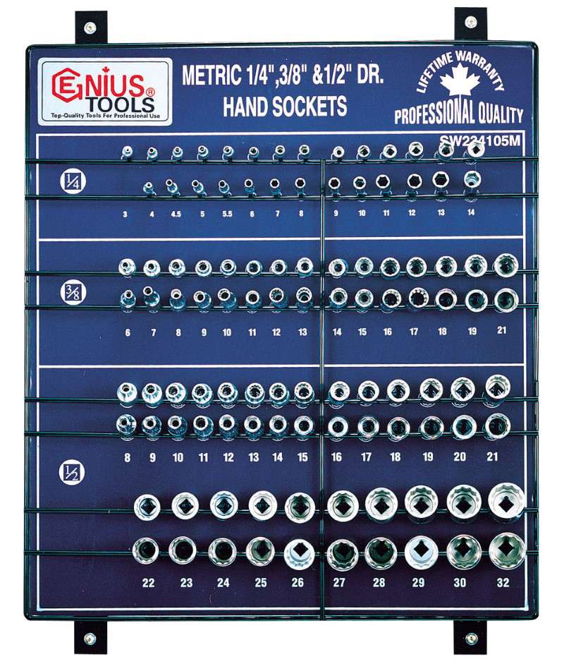 105 Piece 1/4″, 3/8″ & 1/2″ Dr. Metric Hand Socket Display Board