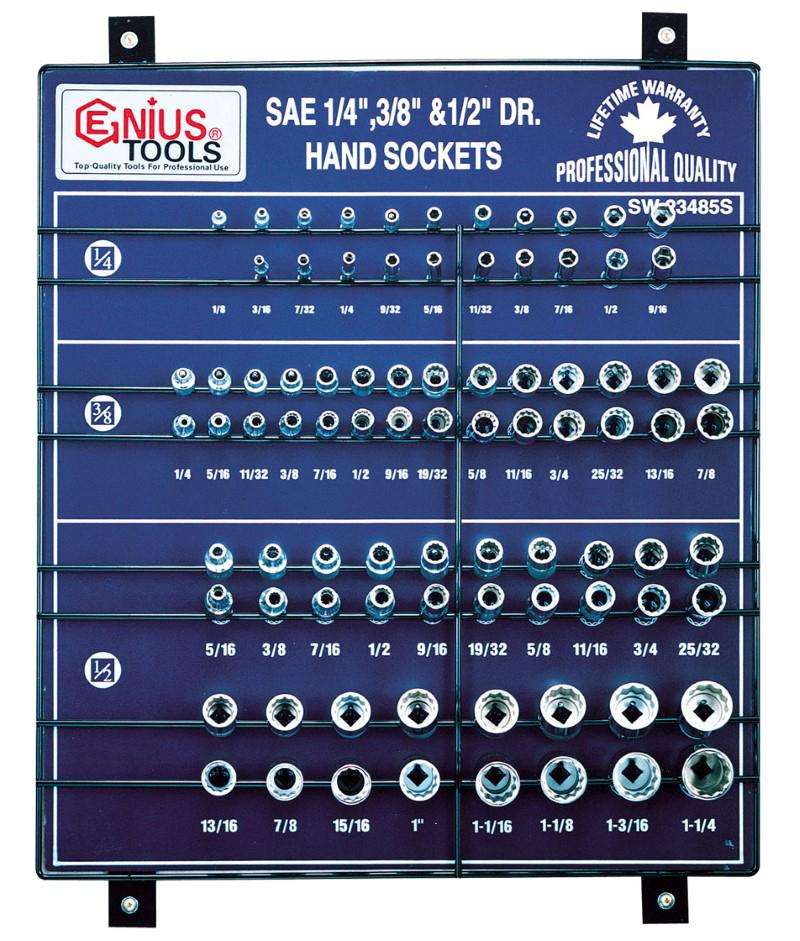 85 Piece 1/4″, 3/8″ & 1/2″ Dr. SAE Hand Socket Display Board