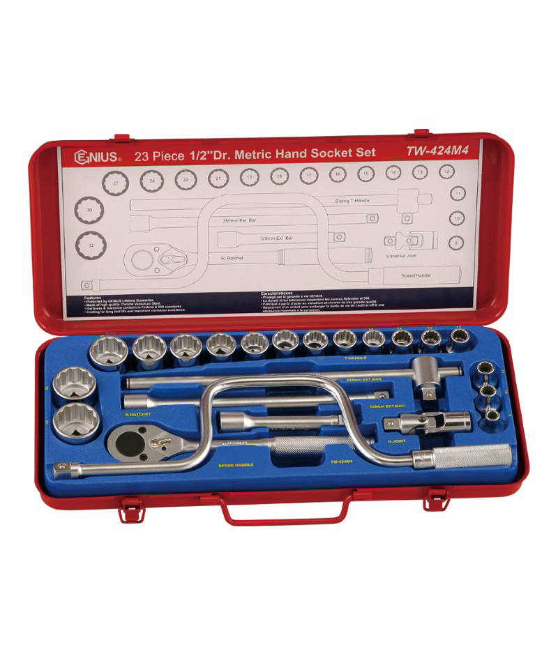 23 Piece 1/2″ Dr. 12 pt. Metric Hand Socket Set