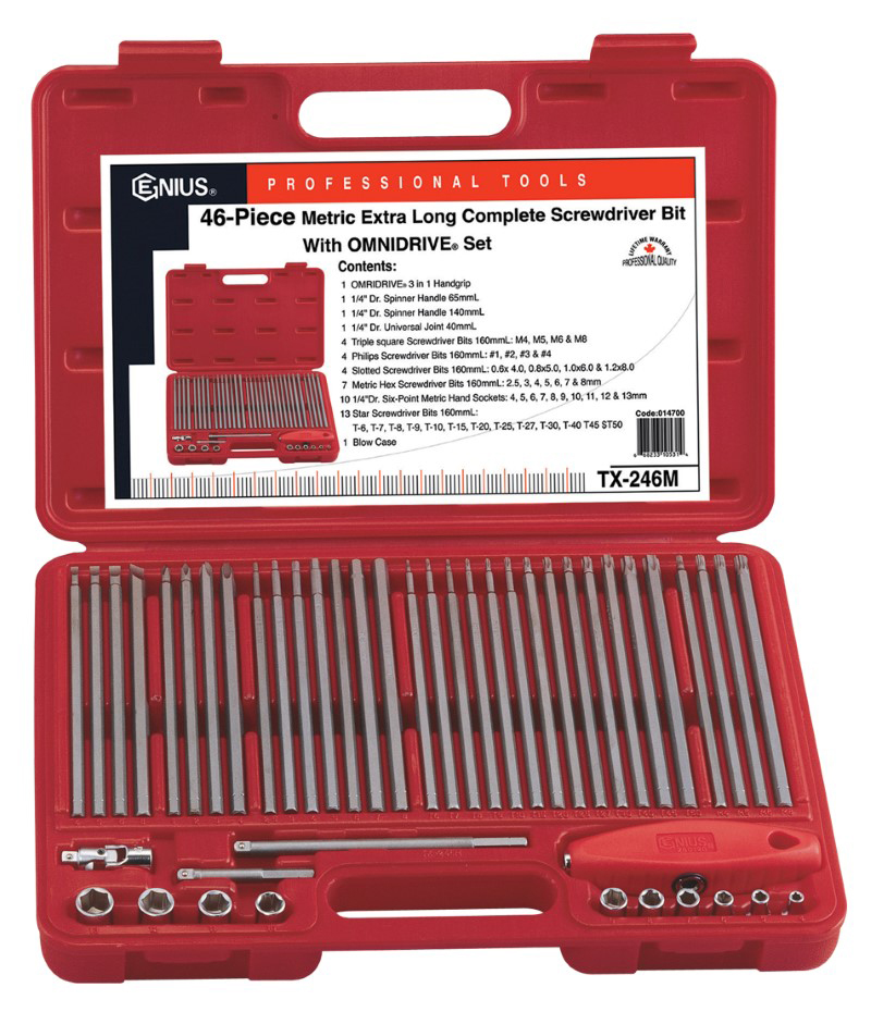 46 Piece Metric Extra Long Complete Screwdriver Bits with OMNIDRIVE® Set