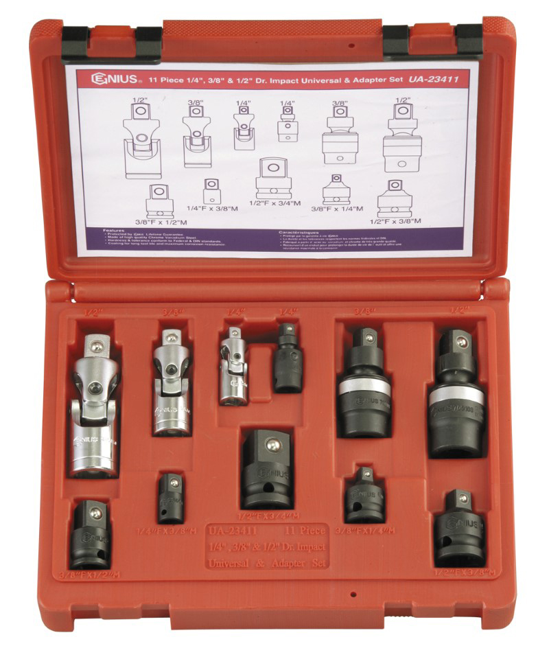 11 Piece 1/4″, 3/8″ & 1/2″ Dr. Universal Joint & Adapter Set